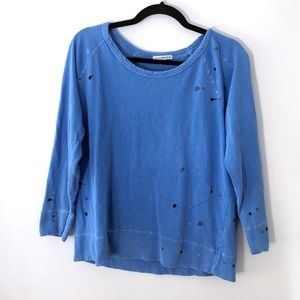 James Perse Splattered blue Sweat Top